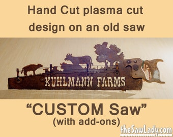 Custom Designed Hand (plasma) cut hand saw with add-ons Metal Art | Wall Decor | Garden Art | Recycled Art | Repurposed  - Made to Order