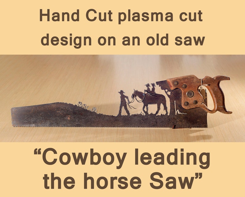 Cowboy leading his horse and sons Metal Art Hand plasma cut image 0