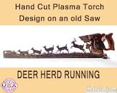 Metal Art - Herd of Deer running - Wall Art - Wall Decor Hand (Plasma) cut Hand Saw   Wall Decor   Garden Art   Recycled Art   Made to Order