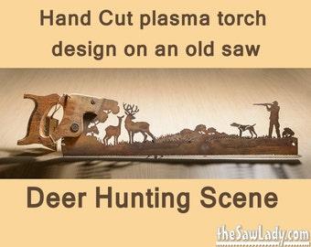 Metal Art Deer Hunter design Hand cut (plasma) hand saw | Wall Decor | Garden Art | Recycled Art | Repurposed  - Made to Order