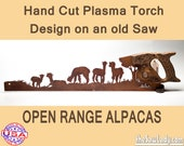 Open Range Alpacas Metal Art Rustic HAND cut handsaw design. Wall Decor, Recycled Art & Repurposed Made to Order for ranchers and farmers