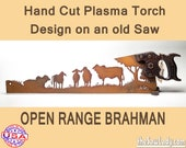 Open Range Brahman Bulls Metal Art Rustic HAND cut handsaw design. Wall Decor, Recycled Art & Repurposed Made to Order for ranchers