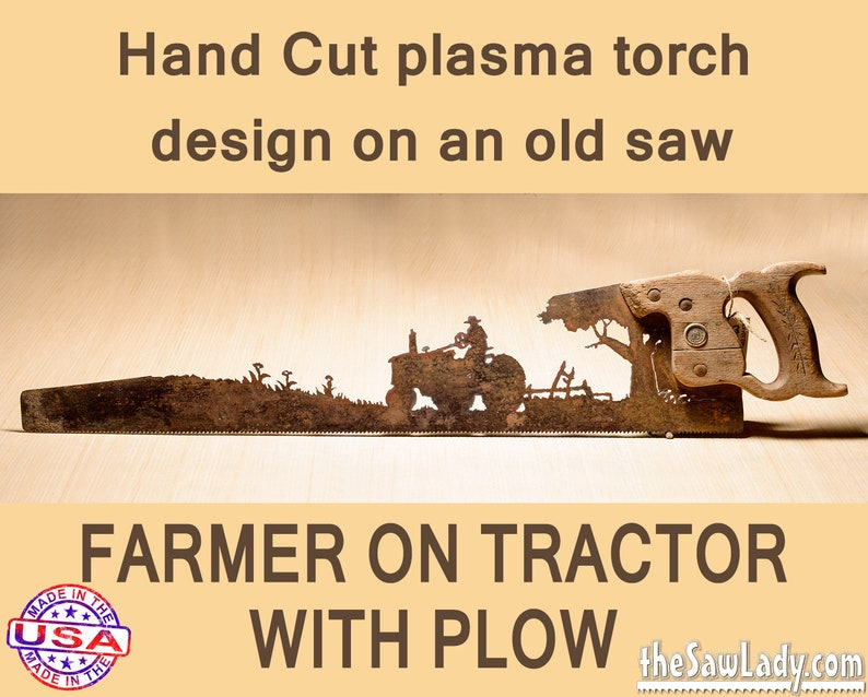 Farmer on a Tractor w/ plow Metal Art design  Hand plasma image 0