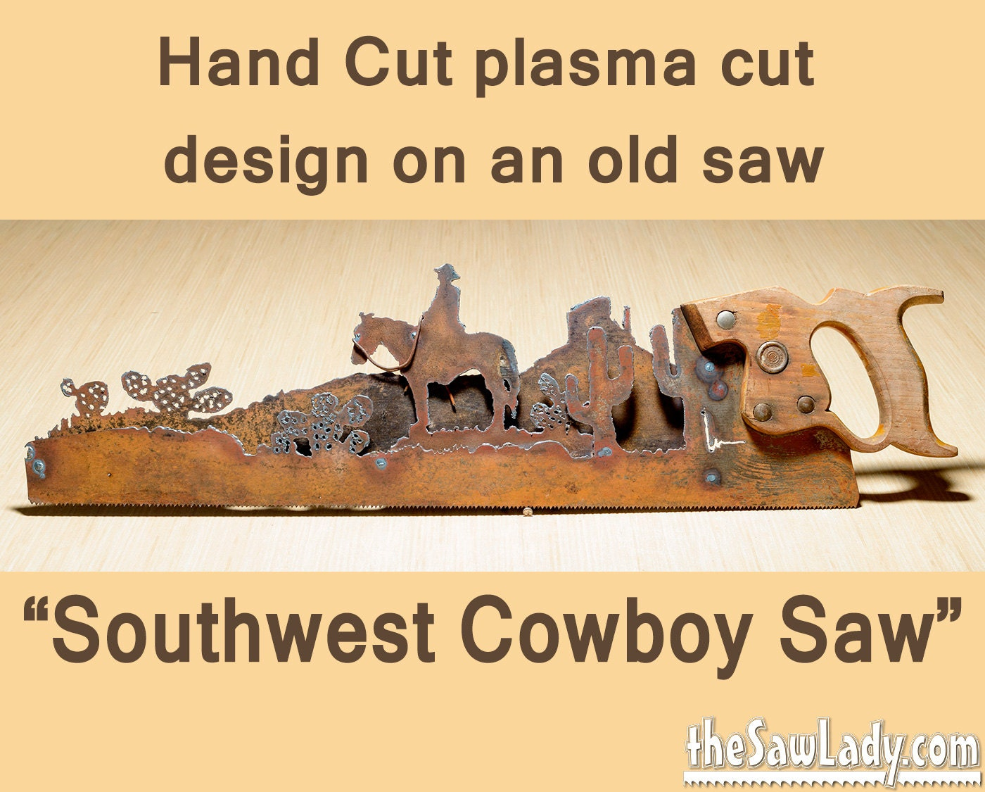Metal Art Southwest Cowboy on horse w/ Cactus Hand plasma
