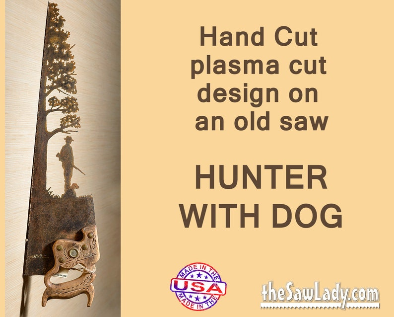 Hunter and Dog design Metal Art  Hand plasma cut Hand Saw. image 0