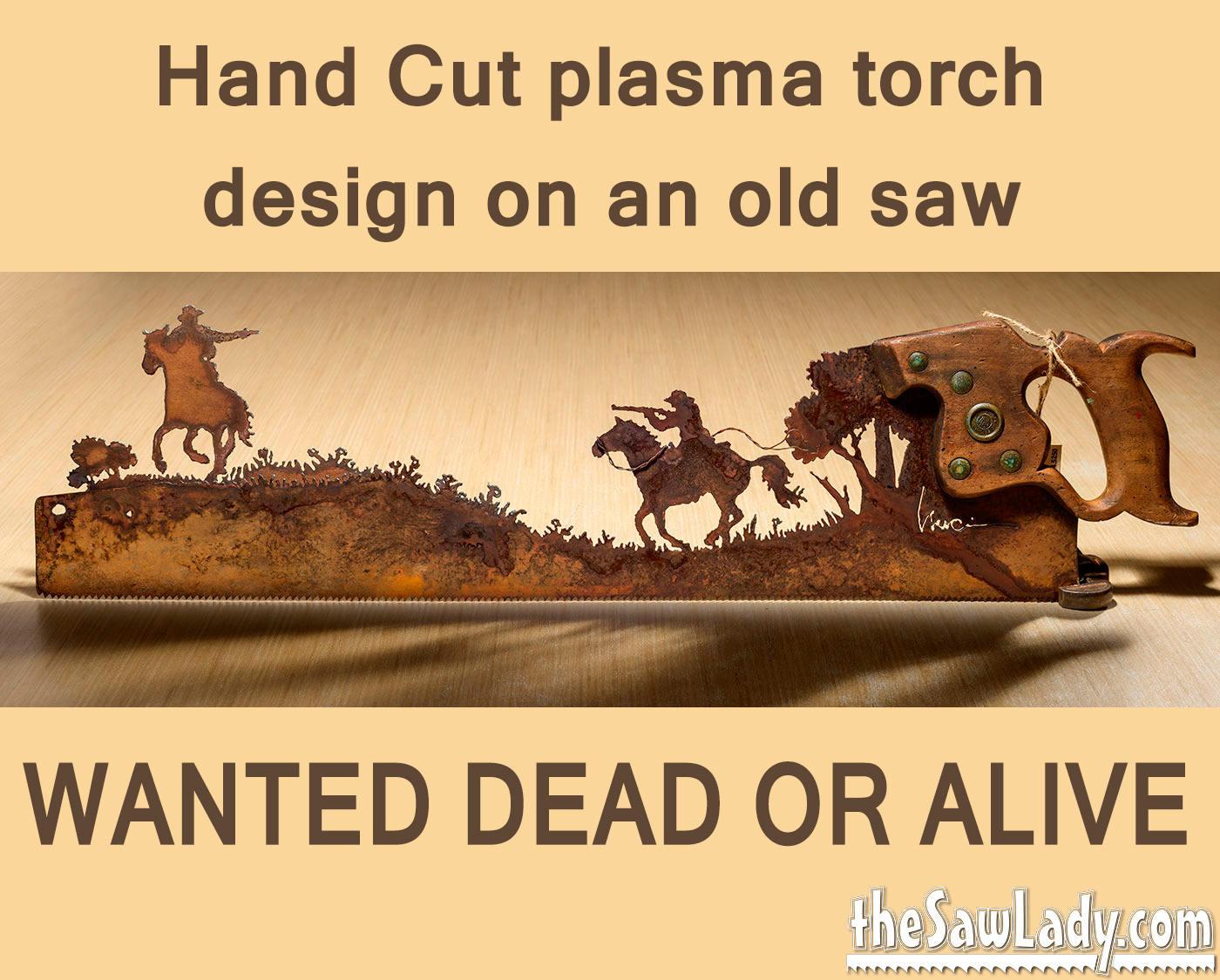 Gunfight on Horses design Hand plasma cut hand saw Metal Art | Etsy