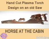 Horse Grazing at the Cabin Metal Art design - Hand cut (plasma torch) hand saw Wall Decor   Garden Art Recycled Art Repurposed Made to Order