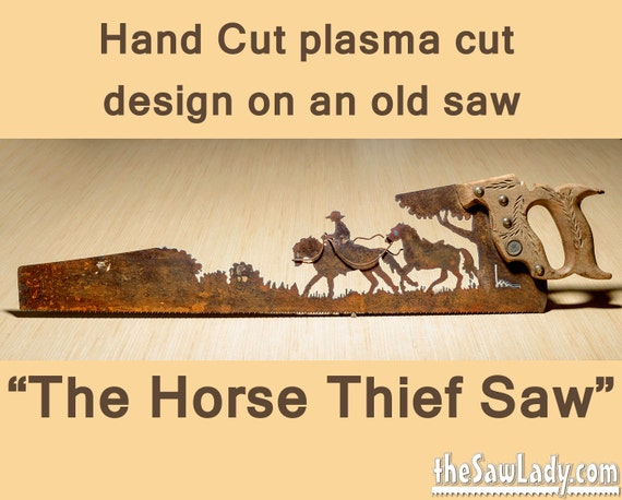 Metal Art Horse Thief Hand plasma cut handsaw Wall Decor