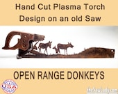 Open Range Donkeys Metal Art Rustic HAND cut handsaw design. Wall Decor, Recycled Art & Repurposed Made to Order for ranchers