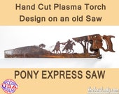 Pony Express Riders design - Hand cut (plasma torch) hand saw Wall Decor   Garden Art   Recycled Art   Repurposed  - Made to Order