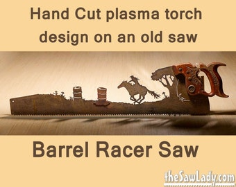 Barrel Racer horse rider design Hand (plasma) cut hand saw Metal Art | Wall Decor | Recycled Art | Repurposed  - Made to Order for riders!