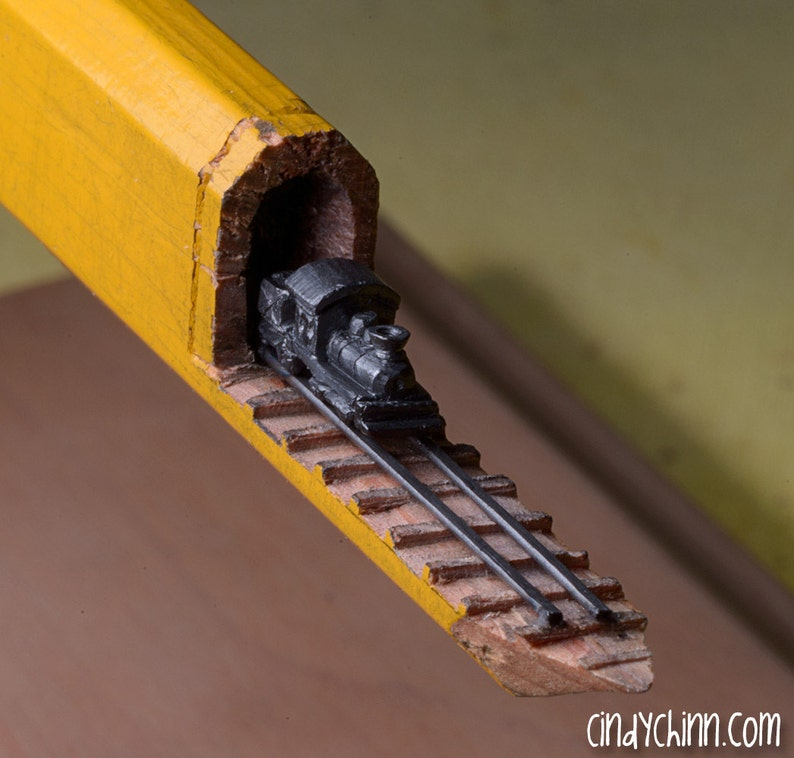 Made to order: pencil carving train and trestles incredible etsy