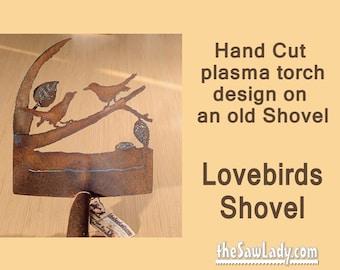 Metal Art Lovebirds Shovel - Hand (plasma) Cut Shovel | Wall Decor | Garden Art | Recycled Art Repurposed Made to Order for lovers of birds