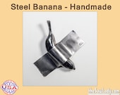 Steel Banana Duct Taped to a Wall - homage to famous artwork, all handmade and ready to hang contemporary art and metal art for collectors
