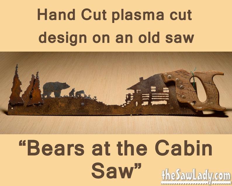 Bears at the Cabin Metal Art design  Hand cut plasma torch image 0