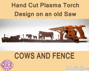 Plasma cut hand saw Cow Decor for Farmhouse Wall Decor, Repurposed saw Made to Order for Ranchers.  Rustic Man cave Decor gift for men.