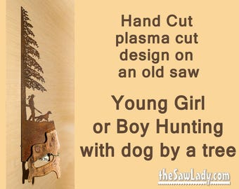 Metal Art Hunter Girl and Her Dog design Hand (plasma) cut Hand Saw | Wall Decor | Garden Art | Recycled Art | Repurposed  - Made to Order