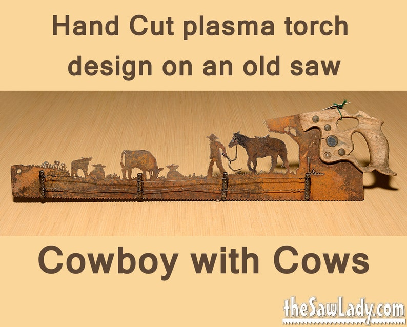 Cowboy with horse and cows and Fence Metal Art Hand plasma image 0