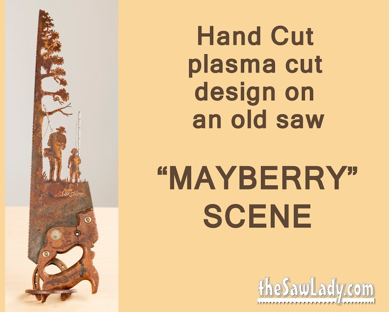Metal Art Mayberry Fishing scene design Hand plasma cut Hand image 0