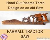 Metal Art Farmall Tractor design - Hand (plasma) cut hand saw   Wall Decor   Garden Art   Recycled Art     - Made to Order