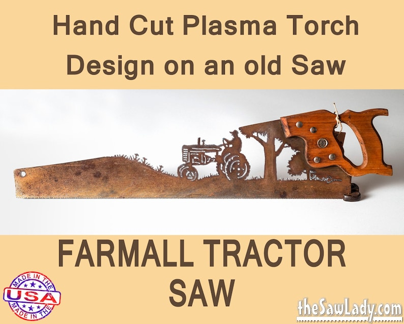 Metal Art Farmall Tractor design  Hand plasma cut hand saw image 0