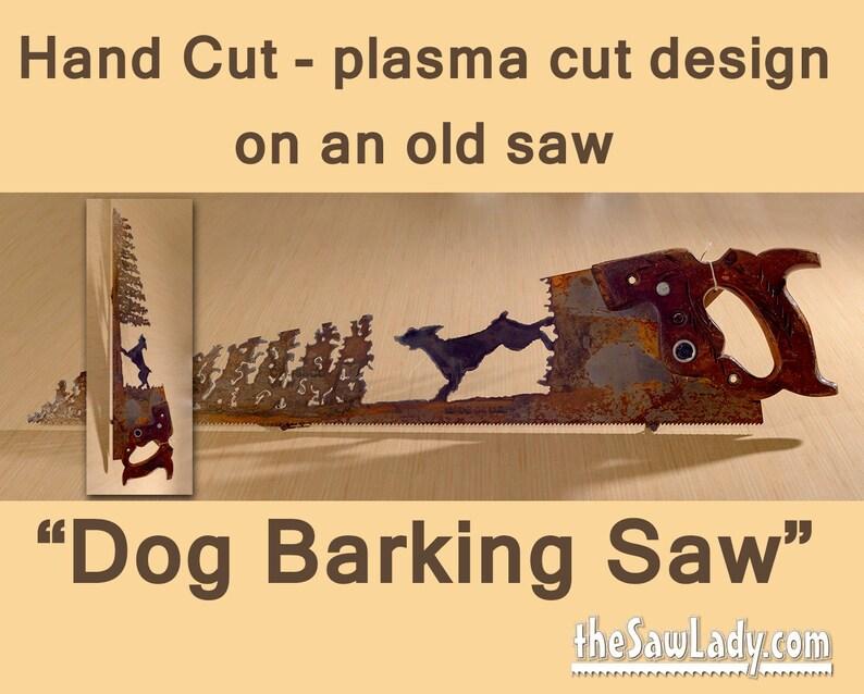Metal Art Dog Barking up a Tree  Hand plasma cut Hand Saw image 0