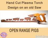 Metal Art Rustic custom cut handsaw Pigs in the field design   Wall Decor   Garden Art   Garden Decor   Ranch Art Made to Order pig farmers