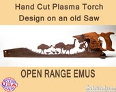 Plasma cut hand saw Open Range Emus Decor for Farmhouse Wall Decor, Repurposed saw Made to Order. Rustic Decor gift for emu lover
