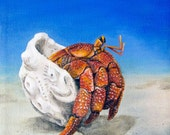 """Red Hermit Crab original painting by Cindy Chinn - Acrylic on canvas - 6""""x6"""" - beach painting, sea creature, mr crab, detailed painting"""