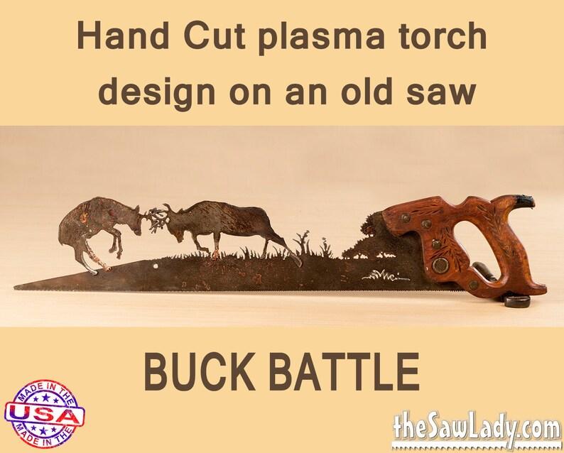 Deer Buck Battle Hand Saw Plasma cut Metal Art. Garden Art image 0