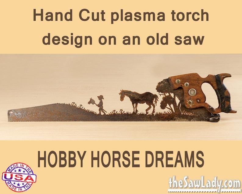 Metal Art Cute Hobby Horse Dreams Hand plasma cut handsaw  image 0