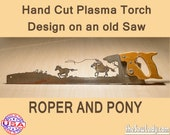 Metal Art Cowboy or Cowgirl Roper and pony design. Hand (plasma) cut hand saw, Wall Decor, Garden Art. Recycled Art made to Order cowboys