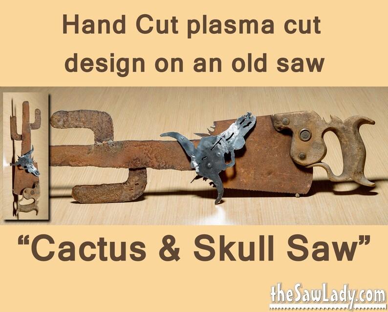 Metal Art Southwest Cactus with Cow Skull  Hand plasma cut image 0