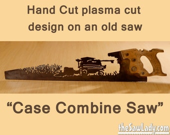 Metal Art Case Combine cutting corn design Hand (plasma) cut hand saw | Wall Decor | Garden Art | Recycled Art | Repurposed  - Made to Order
