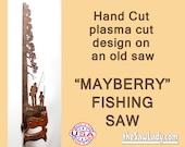 Metal Art Mayberry Fishing scene design Hand (plasma) cut Hand Saw   Wall Decor   Garden Art   Recycled Art   Repurposed  - Made to Order