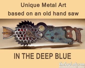 "Metal Art Fish Saw - ""In the Deep Blue"" custom artwork handsaw 