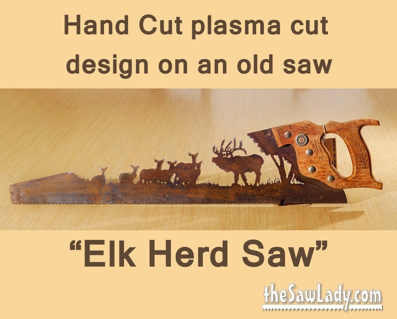 Elk Herd Metal Art Hand Plasma cut Hand Saw   Wall Decor  image 0