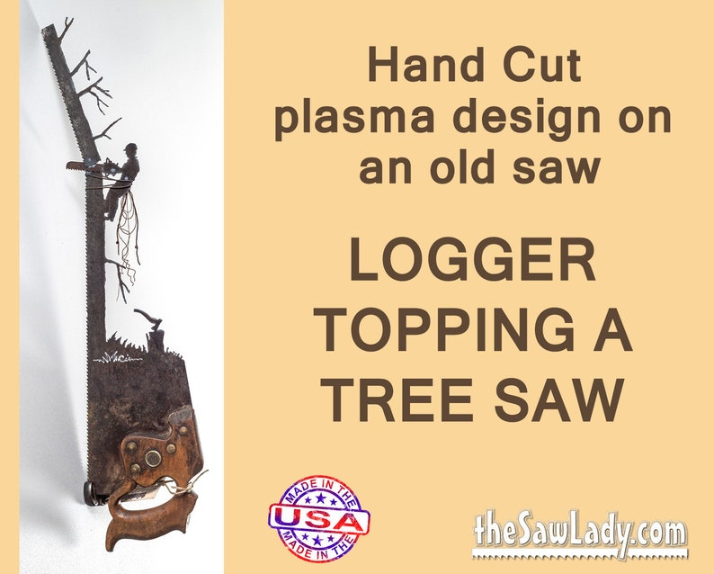Logging themed Metal Art Rustic plasma cut Tree Topper up a image 0