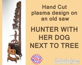 Huntress and Dog design Metal Art  Hand (plasma) cut Hand Saw. Wall Decor, Garden Art, Recycled  Repurposed. Made to Order gift for hunters