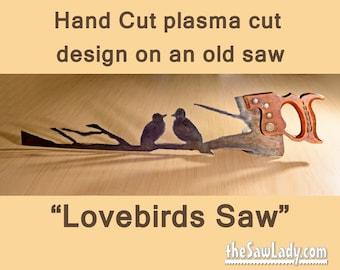 Metal Art Lovebirds design Hand (plasma) cut handsaw | Wall Decor | Garden Art | Recycled Art | Repurposed  - Made to Order