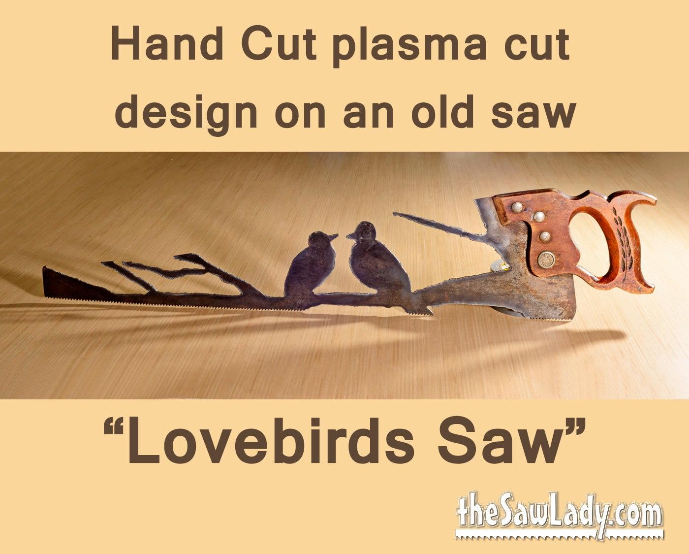 Metal Art Lovebirds design Hand plasma cut handsaw Wall   Etsy