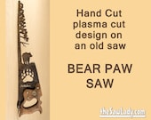 Metal Art Rustic plasma cut Bear in the forest with Bear Paw near a tree hand saw wall decor- Made to Order
