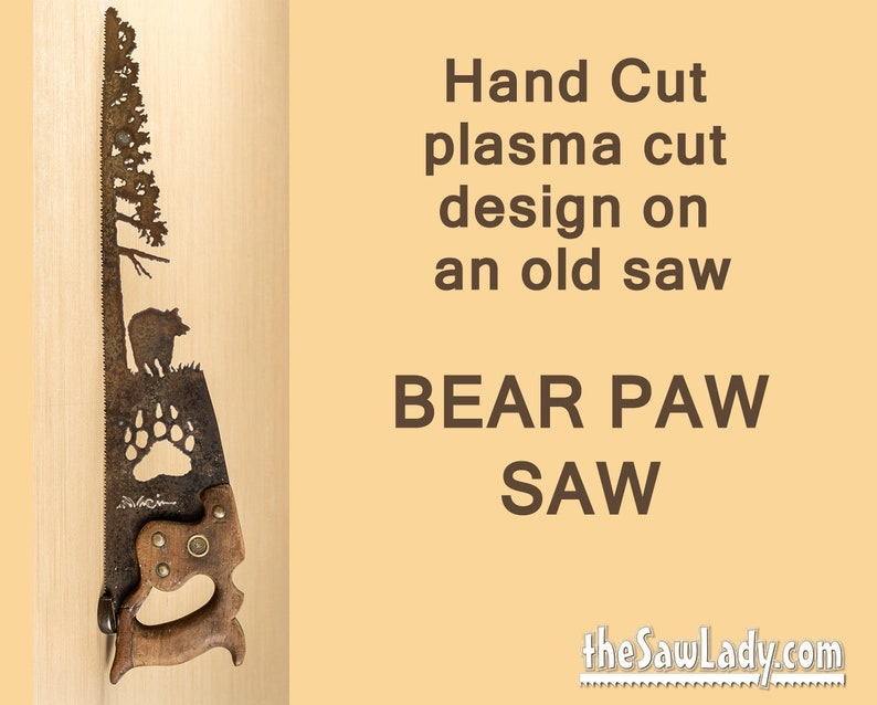 Metal Art Rustic plasma cut Bear in the forest with Bear Paw image 0