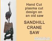 Sandhill Crane Design Hand (plasma) Cut Hand Saw Metal Art   Wall Decor   Garden Art   Recycled Art   Repurposed  - Made to Order