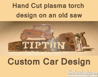 CUSTOM CAR design Hand (plasma) cut hand saw Metal Art | Wall Decor | Recycled Art | Repurposed  - Made to Order for Car Lovers!