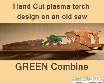 GREEN Metal Art Combine corn design Hand (plasma) cut hand saw | Wall Decor | Garden Art | Recycled Art |  - Made to Order for farmers