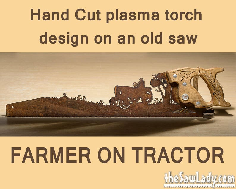 Farmer Riding a Tractor Metal Art design  Hand plasma cut image 0