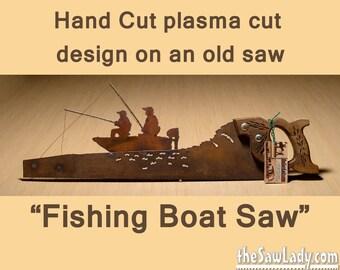 Metal Art Fishing Boat design (custom) - Hand (plasma) cut hand saw | Wall Decor | Garden Art | Recycled Art | Repurposed  - Made to Order
