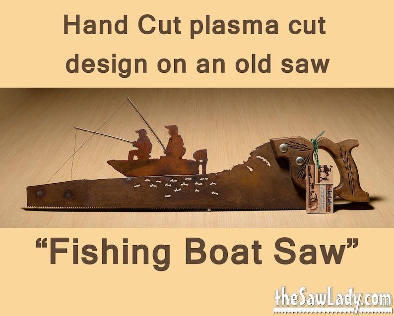 Metal Art Fishing Boat design custom  Hand plasma cut image 0