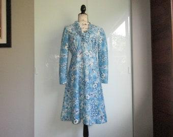 1970's Blue Floral Dress Long Sleeves Ruffled Neck Knee Length